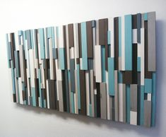 40% OFF! Modern Wood Art - Cottage Chic Wood Strip Artwork 'Cooling Strips' Wooden Wall Art in Turquoise, Brown, Gray, White & Charcoal