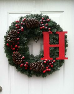 SALE! Snow-Kissed Garland Wreath with Pine Cones and Berries - Personalized