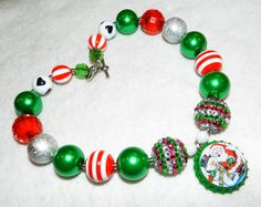 Christmas Santa Snowman Bottle Cap Necklace by ParadiseJewelryofCP