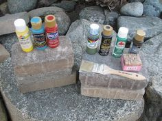 How to Paint Bricks to Look Like Books (with Pictures) Painted Bricks Crafts, Brick Crafts, Painted Pavers, Brick Projects, Painted Books, Painted Stones, Hand Painted, Brick Art, Faux Brick