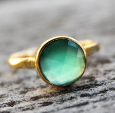 Gold Emerald Green Onyx Gemstone Ring - Stackable Ring - May Birthstone Ring on Etsy, $62.00