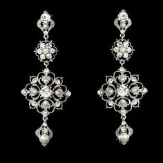 Affordable Elegance Bridal - Intricate White Pearl and Crystal Bridal Earrings $43.99 (