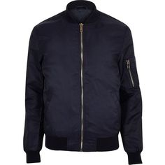 River Island Navy blue zip sleeve bomber jacket ($80) ❤ liked on Polyvore featuring men's fashion, men's clothing, men's outerwear, men's jackets and blue