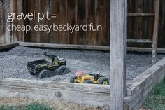 A gravel pit is easy, cheap fun and cleaner than a sandbox. (Simple Mom)