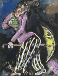 Marc Chagall 1887 - 1985, L'HOMME AU PARAPLUIE, Signed Marc Chagall (lower left) Gouache on paper, Executed in 1927-28.