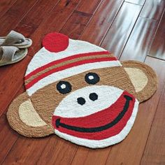 "Amazon.com: 29 1/2"" CLASSIC SOCK MONKEY ACCENT RUG: Home & Kitchen"