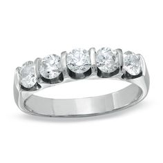 1 CT. T.W. Diamond Five Stone Bar Band in 14K White Gold