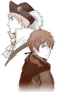 Arthur and Portugal (official character but with a fanmade design) - Art by blackyjo.tumblr.com