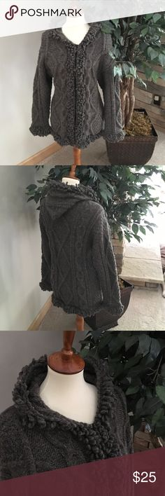 Wool hooded zip sweater/jacket. Cute jacket. Super warm!!  Fabric a little scratchy for me but a great jacket with something underneath. Jackets & Coats