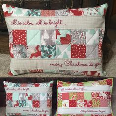 Christmas pillows finally done for teachers tomorrow! Procrastination is my middle name. I must work better under pressure #modernnecessities #quilting #sewing #quiltedpillow #christmas2016 #handmadechristmasgifts #teachergifts #showmethemoda #bonnieandcamille #kateandbirdie #workingmystashoff #instaquilts #amysinbaldi