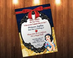 Snow White Birthday Invitation, Snow White Birthday, Princess, Kid Invitation…