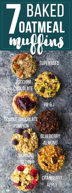 Easy baked oatmeal muffins are a delicious meal prep breakfast or snack on the go. They are easily made gluten-free and vegan, are freezer-friendly, and are customized with seven different flavor variations so you'll never get bored! Baked Oatmeal Muffins, Oatmeal Cupcakes, Oatmeal Yogurt, Healthy Snacks, Healthy Recipes, Diabetic Snacks, Vegetarian Recipes, Granola, Meal Prep