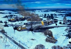 Me 110 straffing on the Russian front