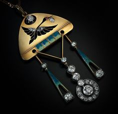 Faberge Diamond Enamel Gold Pendant Early by RomanovRussiacom
