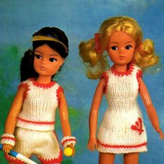 PDF Vintage Sindy Barbie Doll Clothes Knitting Pattern Tennis
