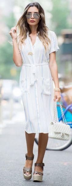 #summer #trendy #outfitideas White Shirt Dress + Pastel Stripes