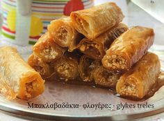 Sweet Madness: All syrupy here! Greek Sweets, Greek Desserts, Greek Pastries, European Cuisine, Churros, Chicken Wings, Cookie Recipes, Fries, Deserts