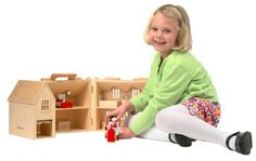 Dollhouses - Melissa  Doug Fold  Go Wooden Dollhouse With 2 Play Figures and 11 Pieces of Furniture >>> See this great product.