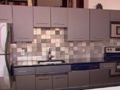Customize your kitchen and help the environment with this beautiful backsplash made of recycled aluminum.