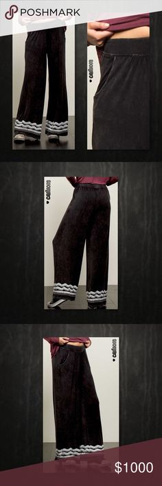 ⭐⭐COMING IN 2-3 DAYS PREORDER NOW⭐⭐ New Mineral Wash Loose Fit Maxi Wide Leg Pants Embroidery Trim Colors Avail: Black, Burgundy Material: 60% Cotton 35% Polyester 5% Spandex Manufactured in China Sizes: Small, Medium, Large Fits true to size  Loose relaxed fit  Wide leg Embroidery Trim    💠💠PRICE FIRM UNLESS BUNDLED💠💠 ⭐️⭐️SORRY NO TRADES AND LOWBALL OFFERS WILL BE IGNORED ⭐️⭐️ 🌺🌺ADDITIONAL MEASUREMENTS AVAIL UPON REQUEST 🌺🌺 Glam Squad 2 You Pants Wide Leg