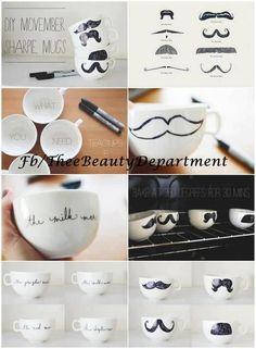 Moustache mugs DIY