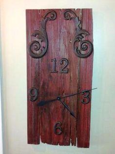 Barn Wood. Wall Clock. Whimsical Design - Rustic barn wood clock