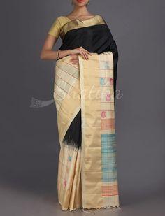 Subhadra Unadorned Gold Border With Checks Pure #PattuSilkSaree
