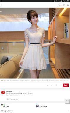 Vestido coreano de chifón con randa