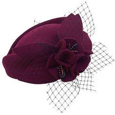 Wine Red Women Fascinator Pillbox Felt Wool Hat Formal Dress Flower... ($20) ❤ liked on Polyvore featuring accessories, hats, flower hat, felt hat, woolen hat, red fascinator hat and flower fascinator