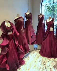 New Dress Outfit Maroon Beautiful Ideas Indian Wedding Gowns, Indian Bridal Outfits, Indian Gowns Dresses, Designer Party Wear Dresses, Indian Designer Outfits, Designer Gowns, Lehenga Designs, Stylish Dresses, Evening Gowns