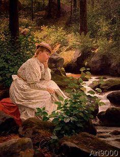 Anton Alexander von Werner - Porträt Hildegard von Werner, im Schwarzwald an einem Bach sitzend