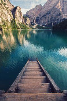 lake landscape water mountains Italy - Braies Lake