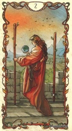 2 of Wands KEYWORDS: Boldness, restricted freedom, assessment, planning, decision, dominance from another, separation, balance, goals attained, happiness, enterprise, distinction, ideas, plans, reconciliation, reunions, ability, foresight.