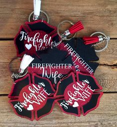 Your place to buy and sell all things handmade - SweetMaysEmerald - Etsy - Excited to share this item from my shop: Firefighter Wife Keychain - Firefighter Family, Firefighter Shirts, Firefighters Wife, Firefighter Decor, Firefighter Workout, Firefighter Quotes, Volunteer Firefighter, Diy Keychain, Handmade Keychains