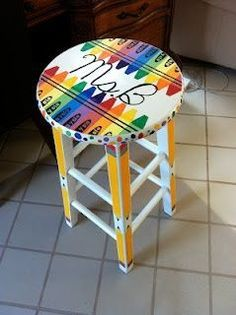 81 Cool Painted Stool Inspirations – Summer Scoggins 81 Cool Painted Stool Inspirations 81 Cool Painted Stool Inspirations www. Classroom Design, Art Classroom, Future Classroom, Classroom Themes, Classroom Organization, Classroom Stools, Star Themed Classroom, Classroom Management, Class Decoration