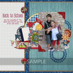 Ready 2 Learn scrapbook layout, first day of school scrapbook page, back to school scrapbook page, school scrapbook, school digital scrapbook, digitalscrapboklayout, digitalscrapbookpage, scrapbookpage, scrapbooklayout