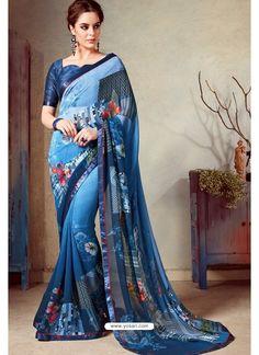 Blue Designer Printed Casual Georgette Sari Designer Sarees Collection, Saree Collection, Indian Beauty Saree, Indian Sarees, Silk Sarees, Printed Sarees, Printed Silk, New Saree Designs, Wedding Silk Saree