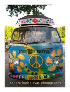 PEACE, Trust Your Crazy Ideas, Color Outside the Lines, Groovy Hippie Volkswagon van, Art Print - microvan, Fillmore West, Flower Power. $30.00, via Etsy.