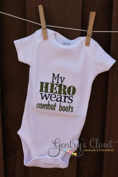 Baby Girl or Boy Onesie  My Hero Wears Combat by gentryscloset, $18.00