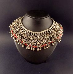 Syria | Vintage necklace worn by the Bedouin people living in the desert in Syria | Mixed metal (low content silver) combined with glass beads | 165 Euro