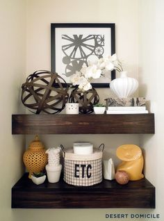 Desert Domicile: DIY $15 Chunky Wooden Floating Shelves i want to do this behind our toilet.. perfect space for it!! mp