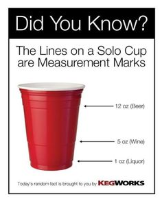 on The lines on a red plastic (Solo) cup are measurement marks! Good to know, since I hardly ever drink!The lines on a red plastic (Solo) cup are measurement marks! Good to know, since I hardly ever drink! Simple Life Hacks, Useful Life Hacks, Good To Know, Did You Know, Cheers, Just In Case, Just For You, Red Solo Cup, In Vino Veritas