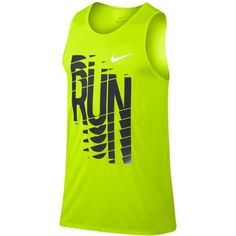 Nike Men's Dry Graphic Run Tank Top ($23) ❤ liked on Polyvore featuring men's fashion, men's clothing, men's shirts, men's tank tops, volt, nike mens tank tops, mens tank tops, mens graphic t shirts, nike mens shirts and mens graphic tank tops