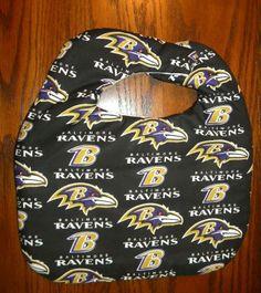 Hand Crafted NFL Baltimore Ravens Football Baby Bib NEW