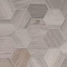 Porcelain Hexagon-8 inch,  Isla Wood Look Tile - White, $6/sf (missionstonetile.com - good source)