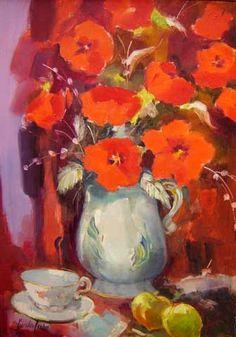 Geraldo Castro (1914-1992)Vaso de flores,Óleo sobre tela,65 x 46 cm