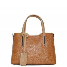 87d774ea99e Stredné Talianske casual kožené kabelky cez plece cognac luxusné Carina  kvetmi