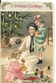 Christmas Postcard Children Presents Tree 1903 Posted Stamp Germany Divided 1215 #Christmas