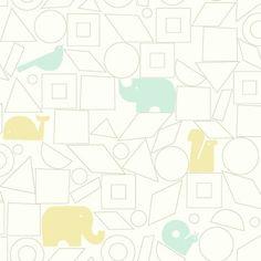 "Baby & Kids Animal Blocks 33' x 20.5"" Wallpaper Roll"
