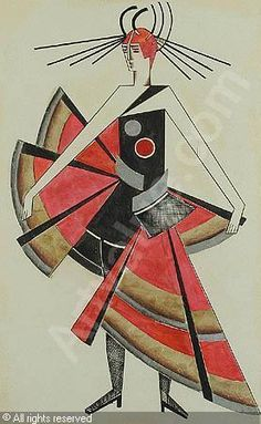 "Possible Strange ""Russian Ballet"" Costume idea for Essie: EXTER Alexandra Alexandrovna - Kostümentwurf Cubism Fashion, Russian Constructivism, Art Deco Paintings, Ukrainian Art, Surrealism Painting, Illustrations And Posters, Costume Design, Art Images, Art History"